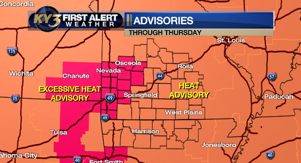 Excessive Heat Warning and Heat Advisories cover all the Ozarks Thursday