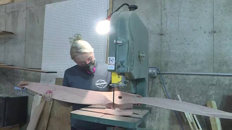 Lewis says it can take one week to create one, wooden propeller.