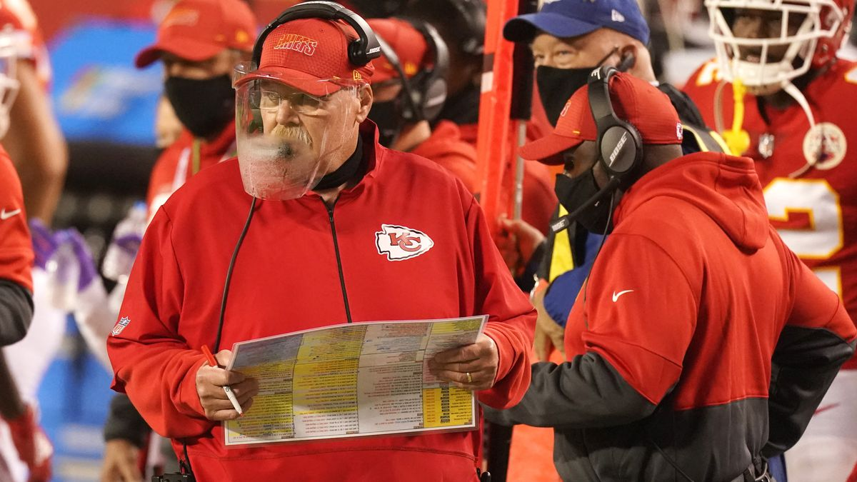 Kansas City Chiefs head coach Andy Reid watches from the sideline in the first half of an NFL football game against the Houston Texans Thursday, Sept. 10, 2020, in Kansas City, Mo. (AP Photo/Charlie Riedel)