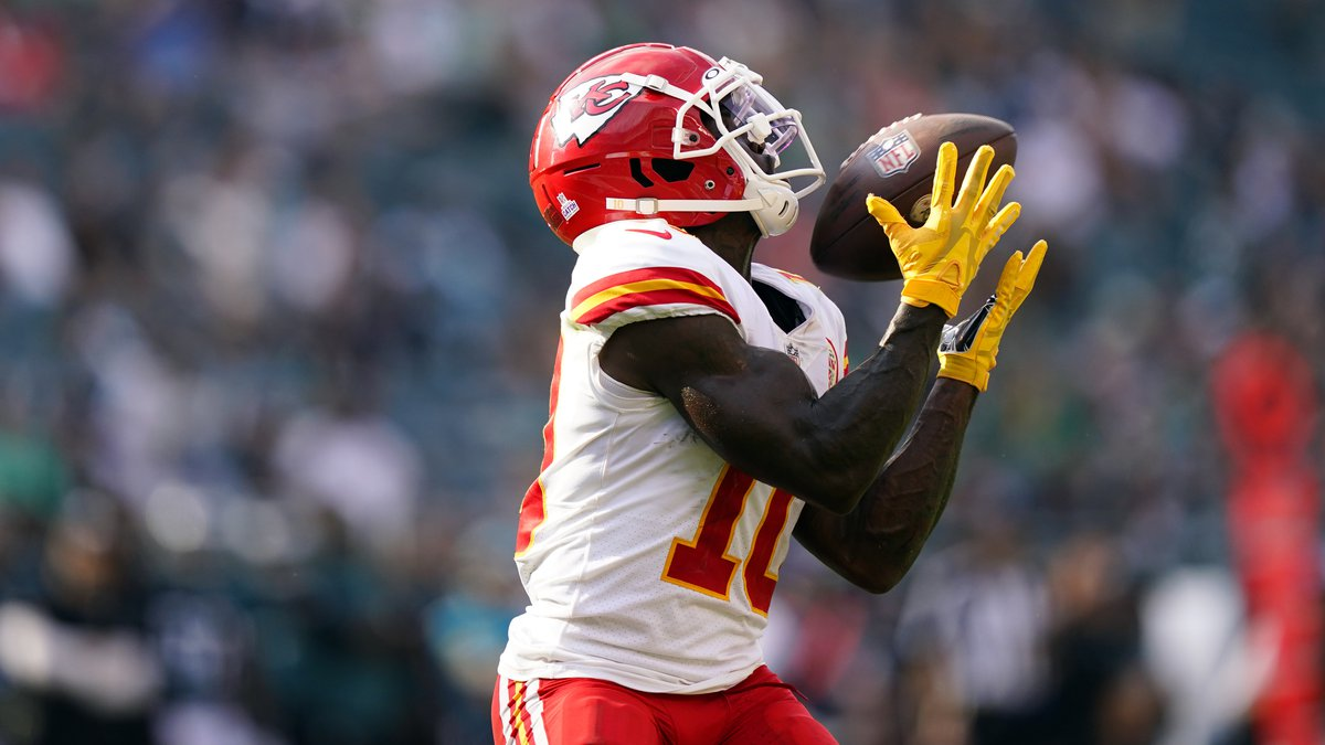 Kansas City Chiefs wide receiver Tyreek Hill (10) scores a touchdown during the second half of...