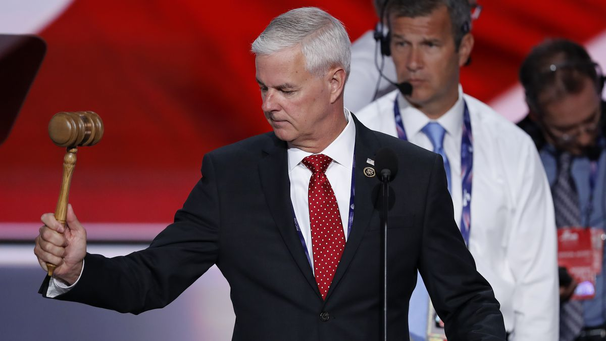 Rep. Steve Womack, R-Ark., tests out the gavel during a sound check before the opening session of the Republican National Convention in Cleveland, Monday, July 18, 2016. (AP Photo/J. Scott Applewhite)