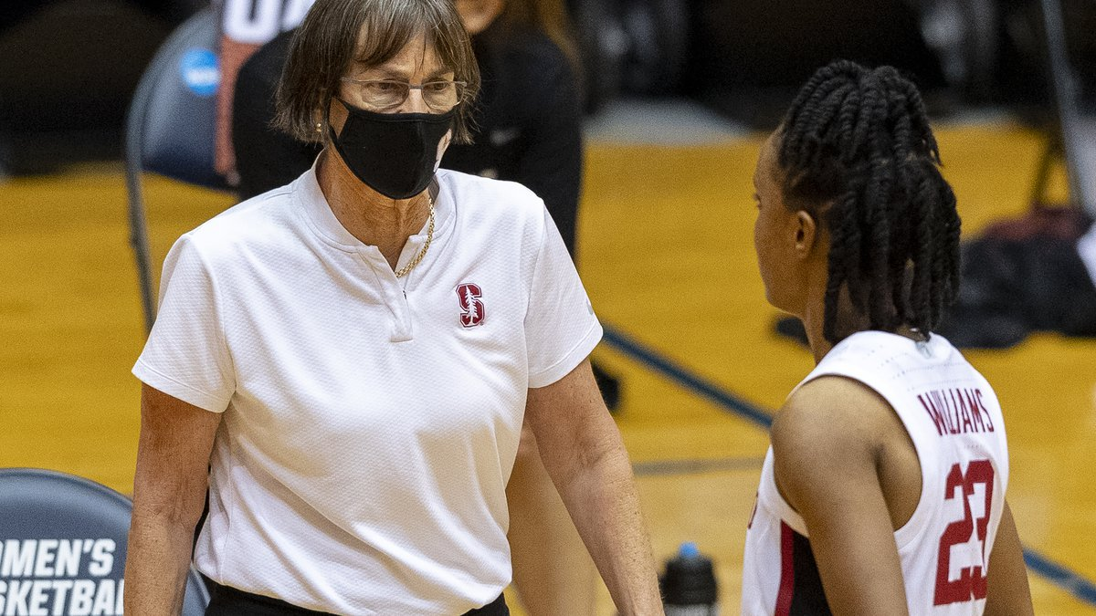 Stanford coach Tara VanDerveer speaks with guard Kiana Williams during the second half of a...