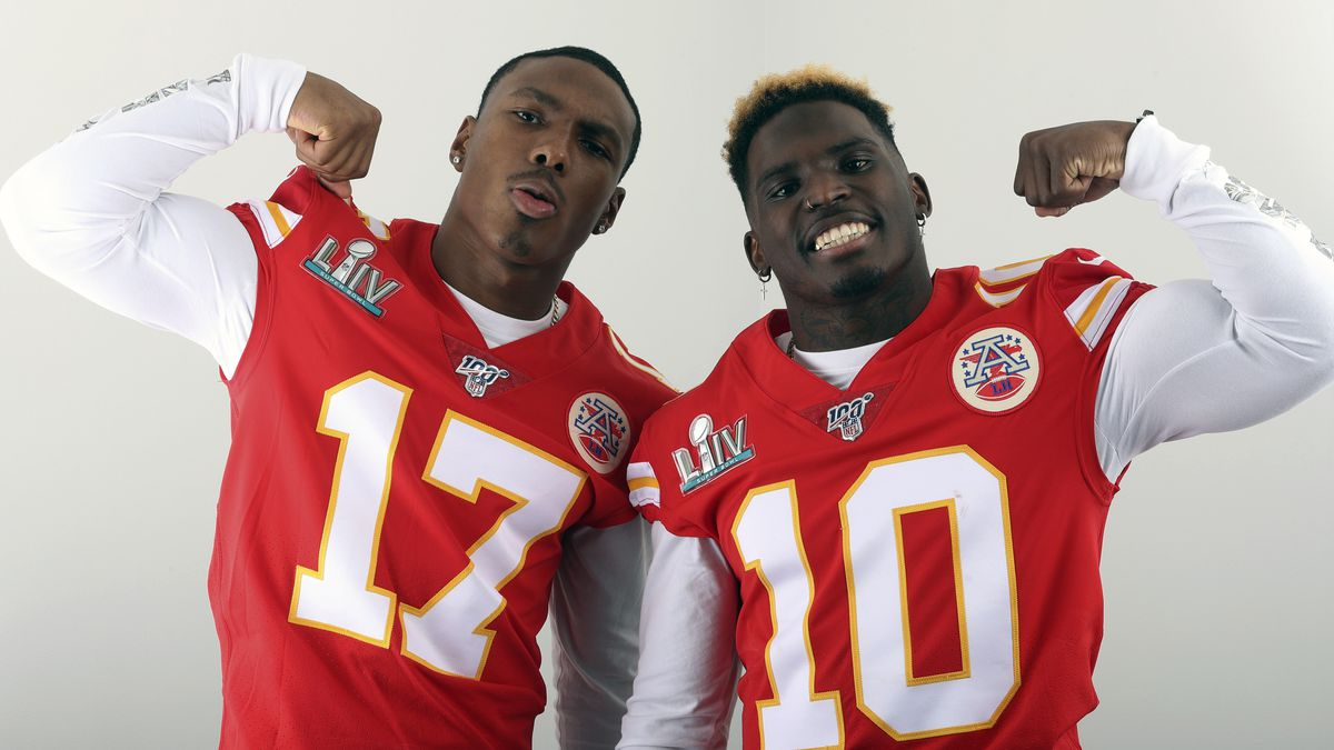 FILE - In this Jan. 27, 2020, filer photo, Kansas City Chiefs' Mecole Hardman (17) and Tyreek Hill (10) pose for a photo in Miami. The two Chiefs wide receivers have traded barbs about their speed ever since Hardman was chosen in the second round of last year's draft. Hardman and Hill both have world-class speed — that much was never in question — but just who was the fastest man in Kansas City wasn't settled until the two lined up in the team's indoor facility this past week. Hill won easily. Hardman copped to it on social media with a sad-face emoji. (AP Photo/Doug Benc, File)