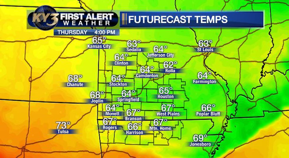 Highs Thursday should be mostly in the 60's.