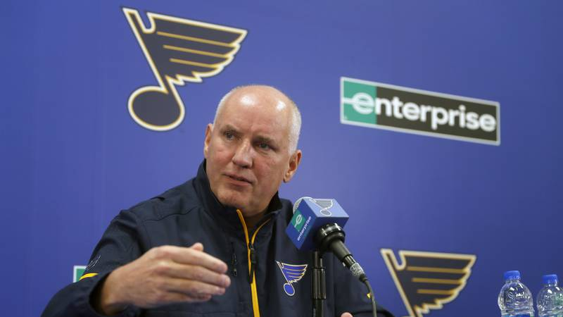 St. Louis Blues general manager Doug Armstrong speaks during a news conference in 2018. (AP...