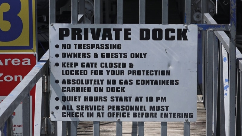 boats can not be anchored within 100 feet of someone else's dock that might prevent owners from...