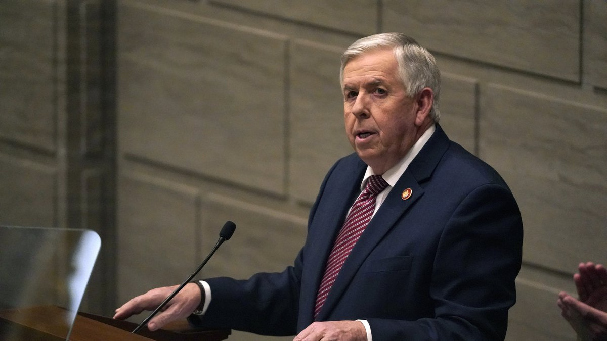 FILE - In this Jan. 27, 2021, file photo, Missouri Gov. Mike Parson delivers the State of the...