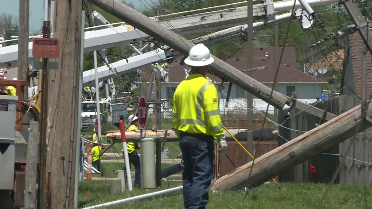 Straight-line winds knocked down several utility poles and damaged buildings in Lebanon in May 2020