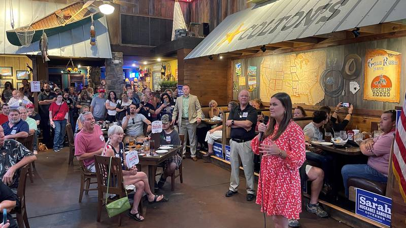 Former White House Press Secretary Sarah Sanders talks about her campaign for governor during...