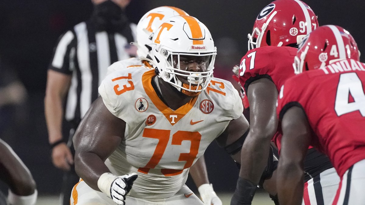 FILE - Tennessee offensive lineman Trey Smith (73) blocks against Georgia in the second half of...