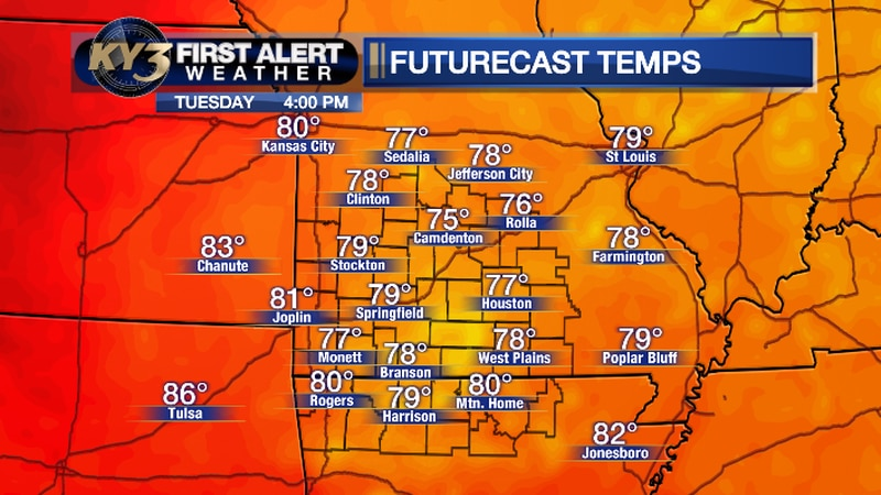 Forecast high temperatures for Tuesday