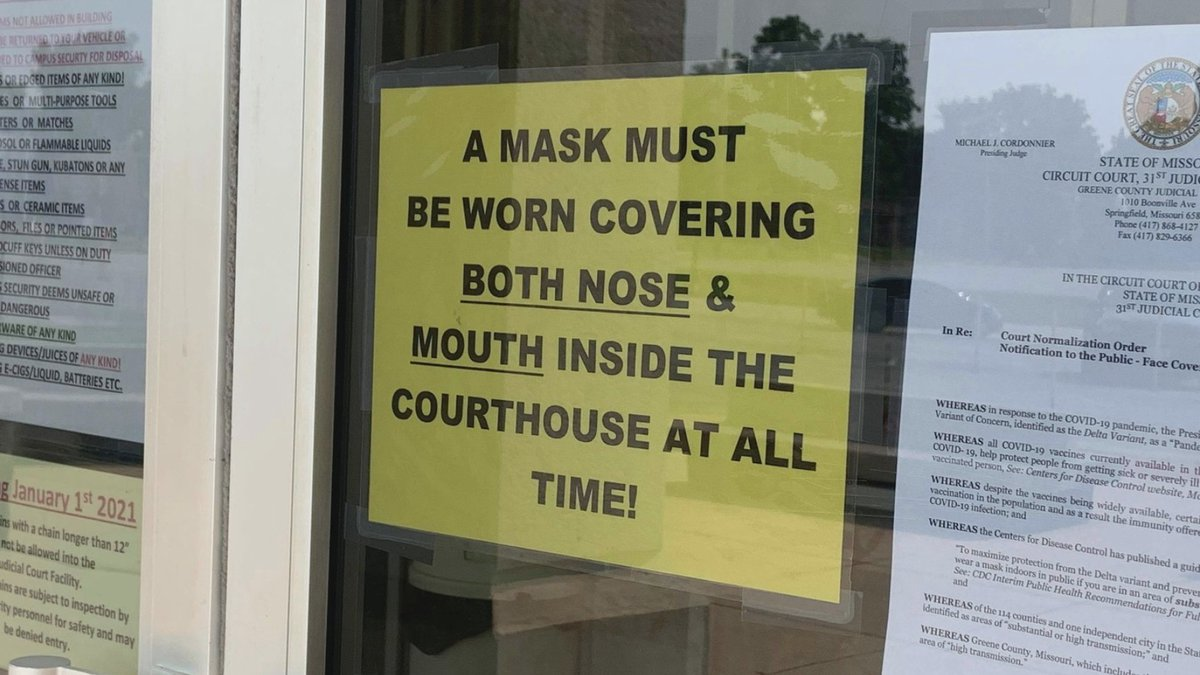 Masks are now required in the Greene County Judicial Courts Facility and Juvenile Facility.