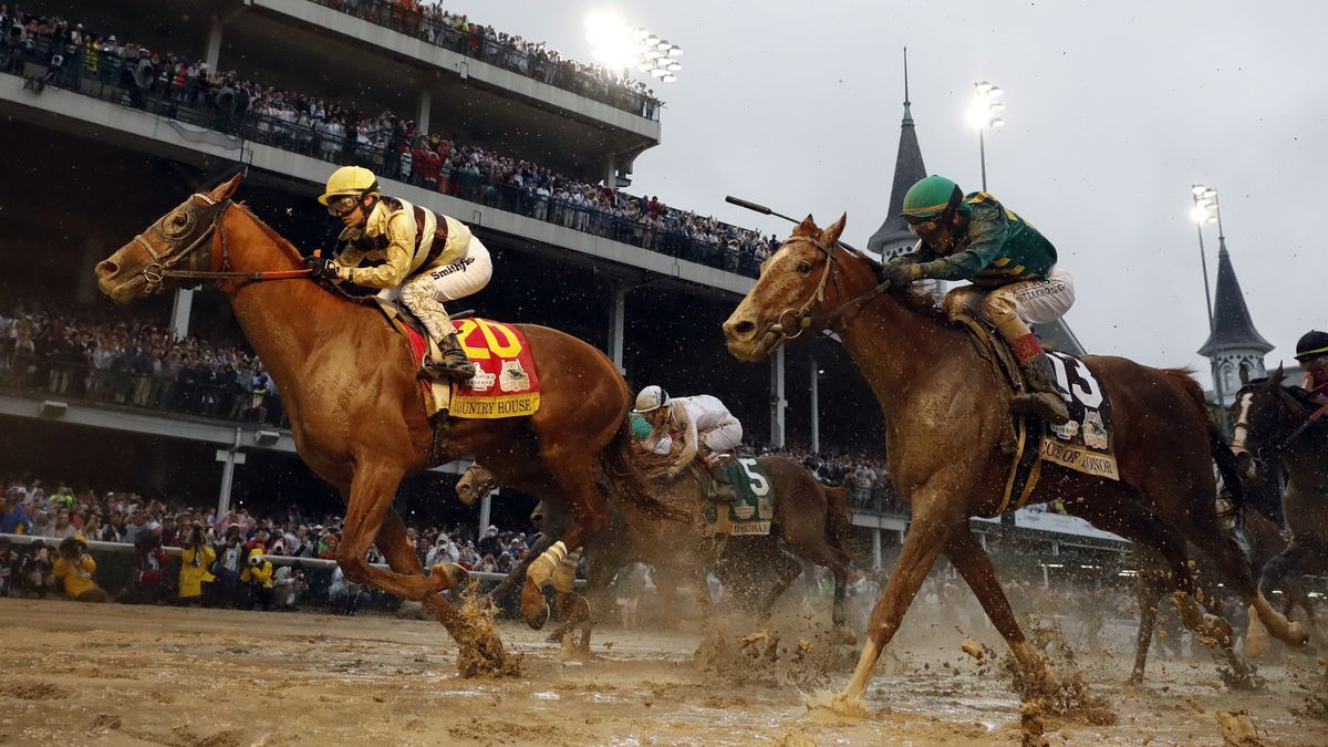 FILE - In this May 4, 2019, file photo, Flavien Prat rides Country House to the finish line during the 145th running of the Kentucky Derby horse race at Churchill Downs in Louisville, Ky. Kentucky Derby winner Country House will not run in the Preakness.<br />Assistant trainer Riley Mott confirmed to The Associated Press on Tuesday, May 7, that the longshot winner of horse racing&amp;rsquo;s biggest event is no longer being considered for the second jewel of the Triple Crown. Country House was named the winner of the Kentucky Derby after Maximum Security was disqualified. (AP Photo/Matt Slocum, File)