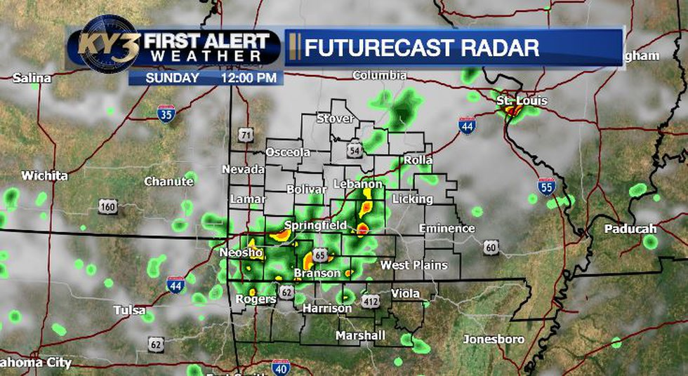 A few storms on Sunday