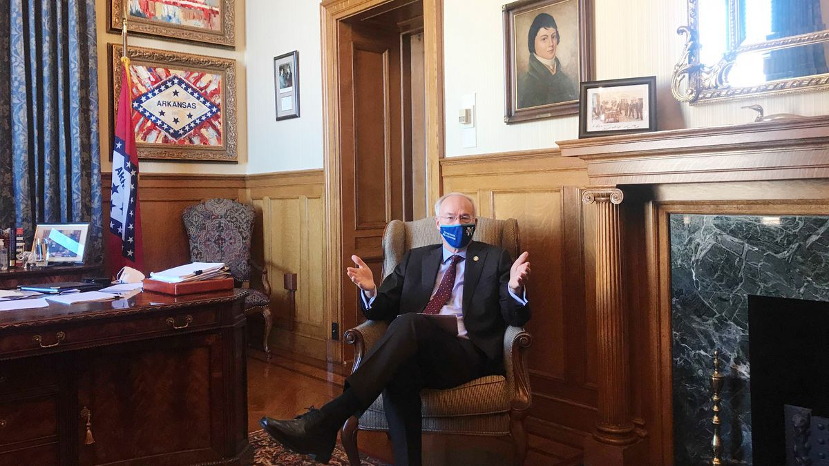 Arkansas Gov. Asa Hutchinson speaks in his office at the state Capitol in Little Rock, Ark. on...