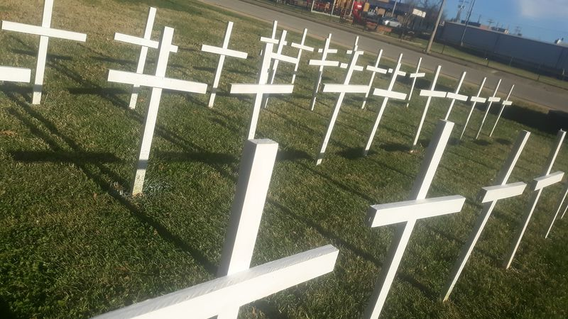 More than 30 crosses were constructed and placed on the grounds of the Lebanon First United...