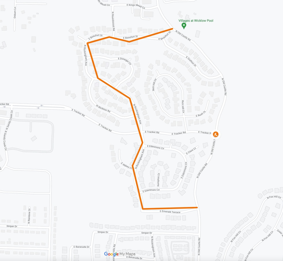 This is a detour map for the construction of East Tracker Road and Old Castle Road Detour Map.