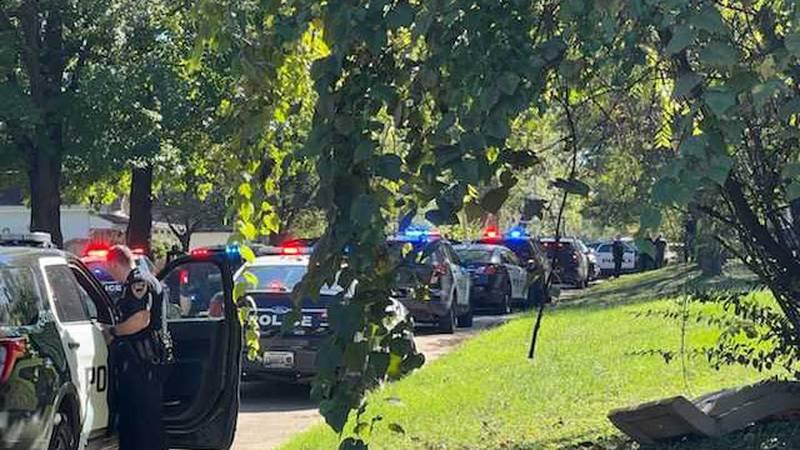 Heavy police presence on South Lexington Street.