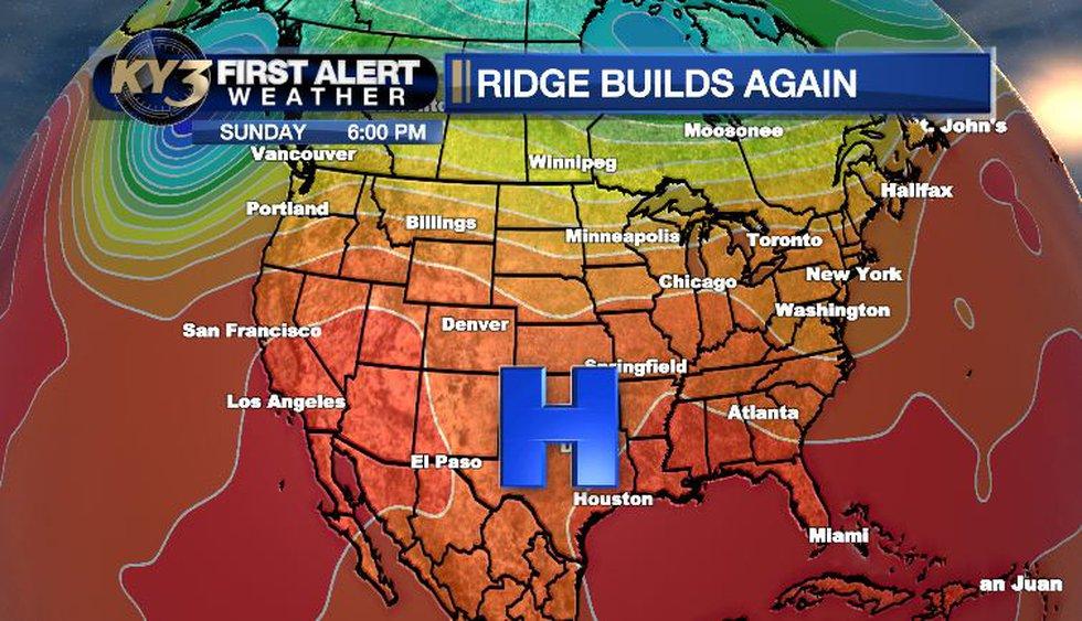 The ridge of high pressure builds this weekend. Warmer temperatures return