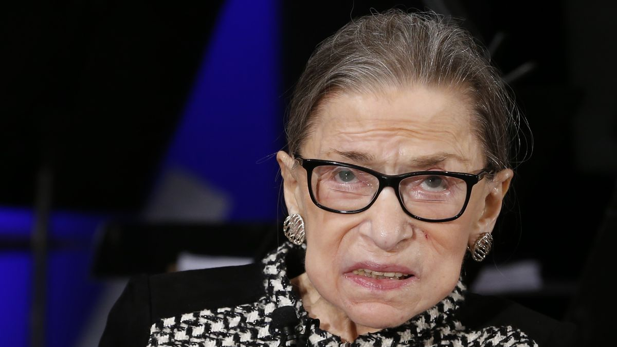 FILE - In this Dec. 17, 2019, file photo, Supreme Court Justice Ruth Bader Ginsburg looks up as...