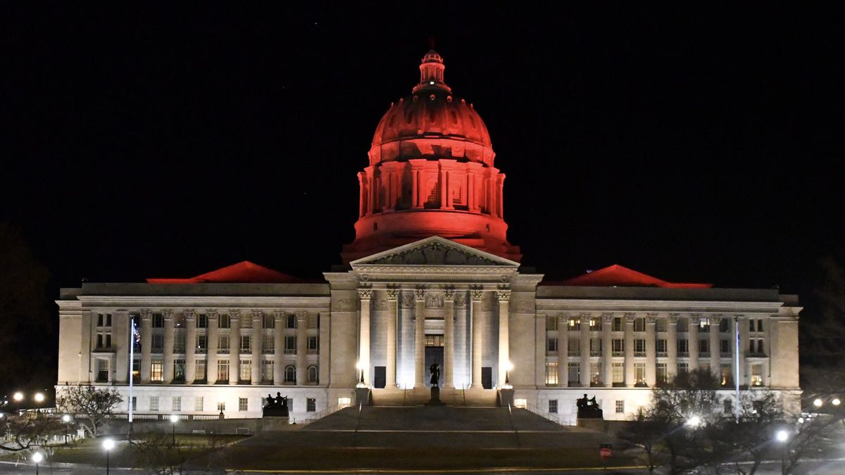 The Missouri Capitol dome has been lit red as the Kansas City Chiefs seek a second straight...