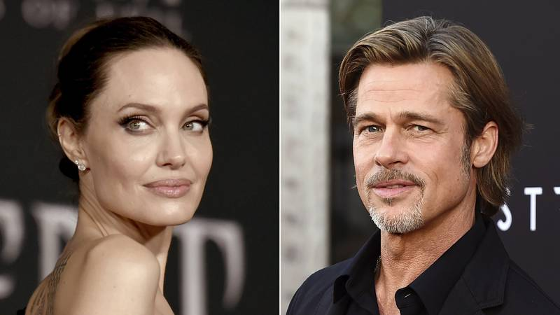 This file photo combination shows Angelina Jolie at a premiere in Los Angeles on Sept. 30,...