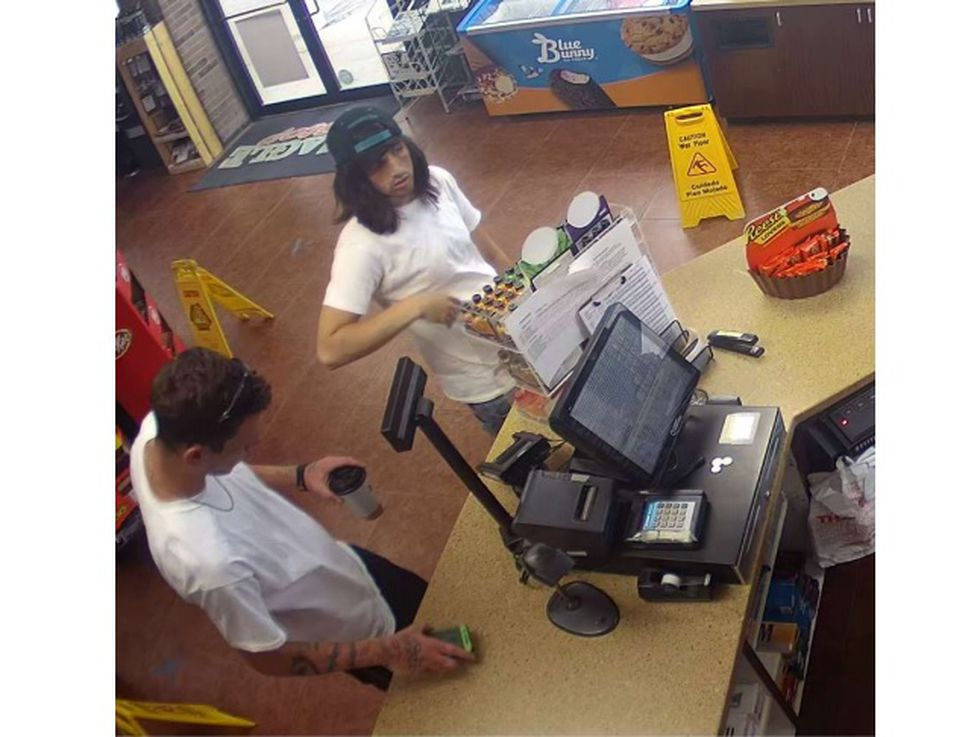 The men also stole the clerk's social security card, driver's license and credit card.