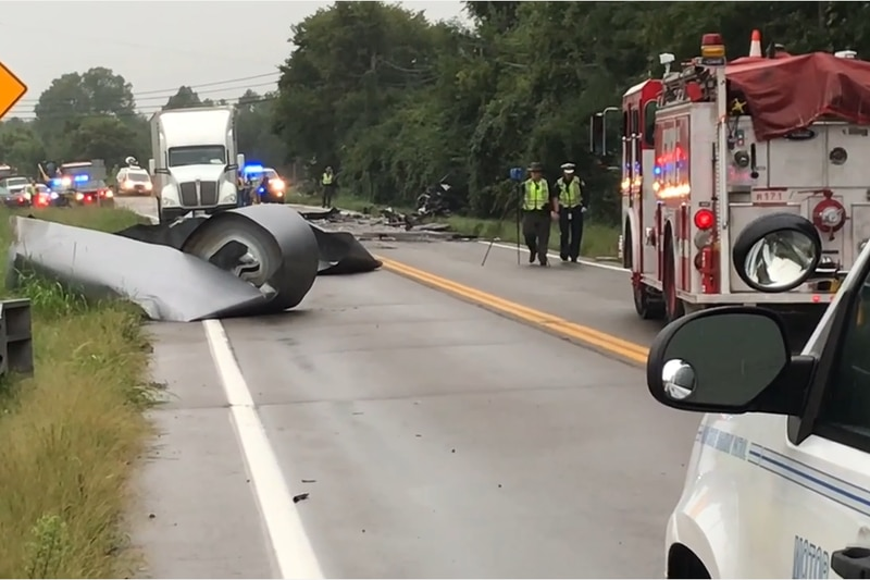 The steel coil fell off the semi bed and into the southbound lane of Hamilton Eaton Road, where...