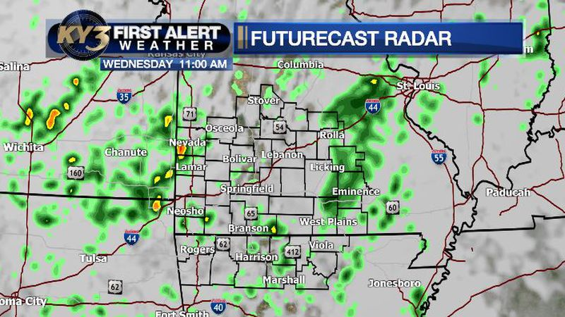 Scattered showers and a few thunderstorms are possible Wednesday