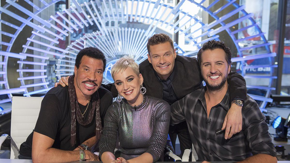 """AMERICAN IDOL - ABC's """"American Idol"""" judges Lionel Richie, Katy Perry and Luke Bryan with host Ryan Seacrest. (ABC/Eric Liebowitz)"""
