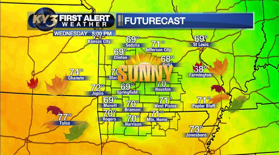 Sunshine and fall-like temperatures today