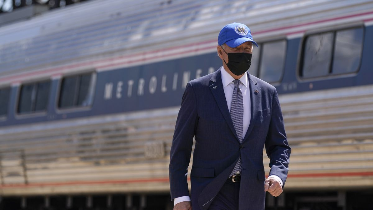 President Joe Biden arrives to speak at an event to mark Amtrak's 50th anniversary at 30th...