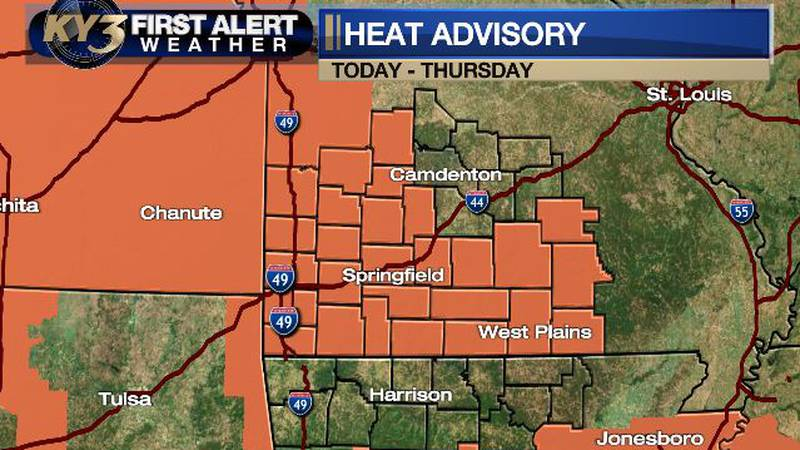 Heat index values could reach 105.