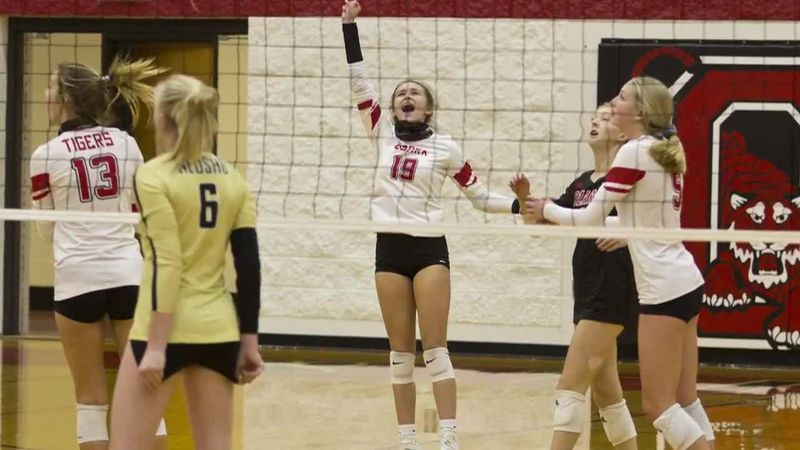 Ozark junior Madison Reed celebrates a point versus Neosho.