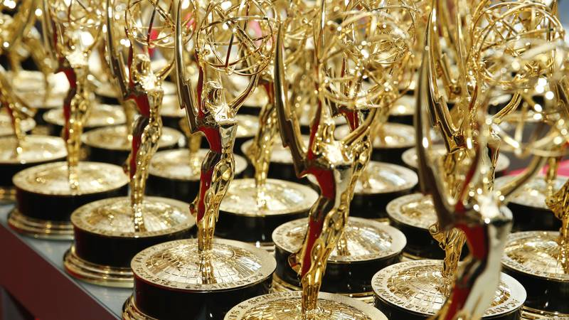 Emmy statues stand on a table during the 69th Primetime Emmy Awards on Sunday, Sept. 17, 2017,...
