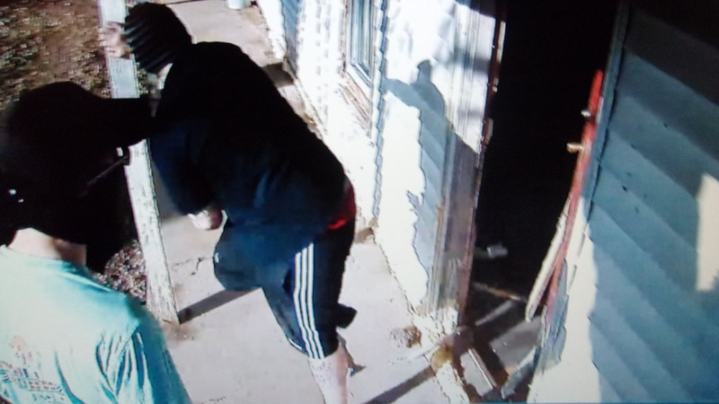 Security cameras caught two men and a woman kicking in the front door.