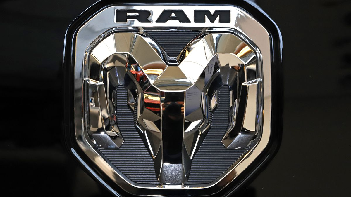 FILE - This Feb. 13, 2020 photo shows the Ram truck logo at the 2020 Pittsburgh International...