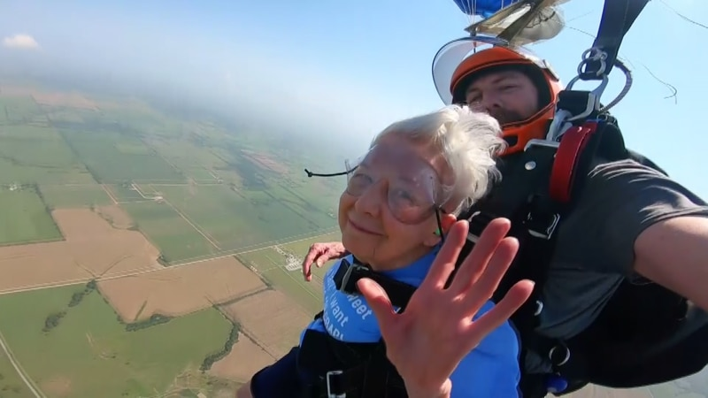 Peggy Wolf turned 96 years on July 20th and to celebrate, she wanted to go skydiving.