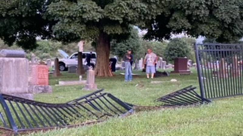 Driver crashes through historic cemetery in Republic leaving damage to fence and multiple...