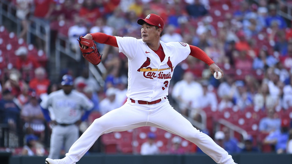 St. Louis Cardinals starting pitcher Kwang Hyun Kim throws during the first inning of the...