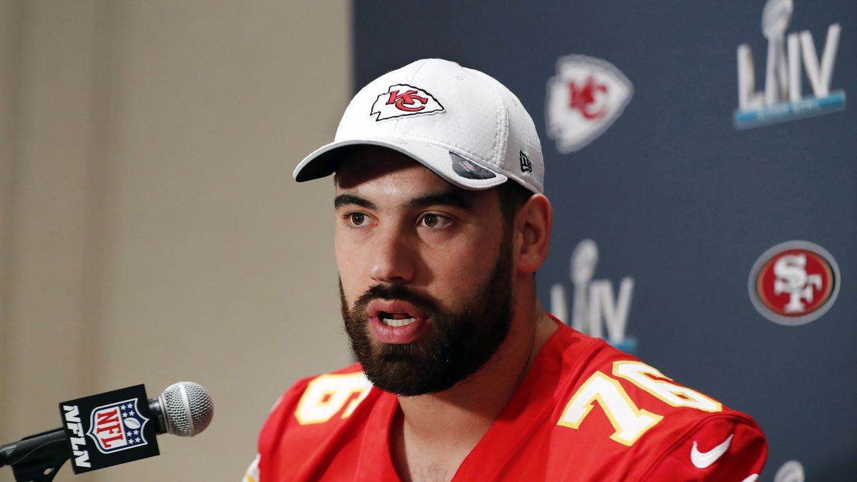 FILE - In this Wednesday, Jan. 29, 2020, file photo, Kansas City Chiefs offensive guard Laurent...