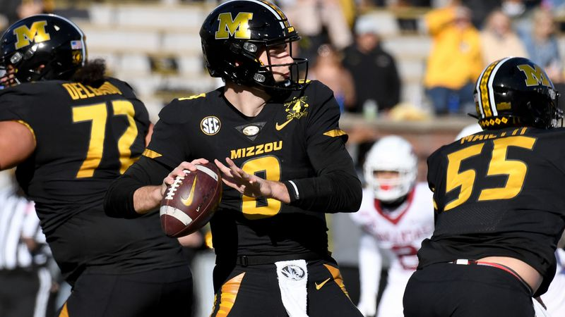 Missouri quarterback Connor Bazelak throws during the first half of an NCAA college football...