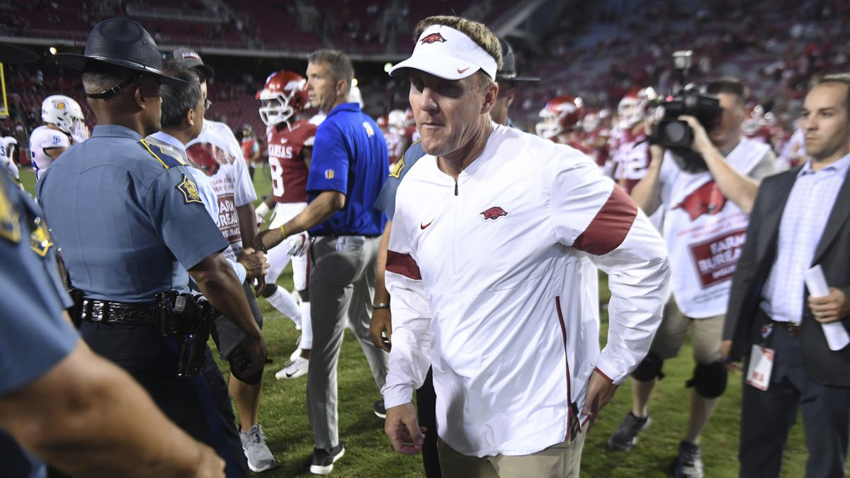 Arkansas coach Chad Morris leaves the field following the team's 31-24 loss to San Jose State during an NCAA college football game Saturday, Sept. 21, 2019 in Fayetteville, Ark. (AP Photo/Michael Woods)