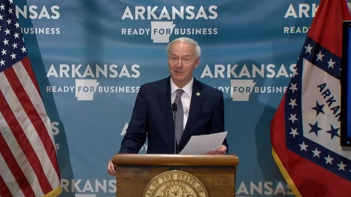 Arkansas Gov. Asa Hutchinson during a press conference on July 7, 2020.