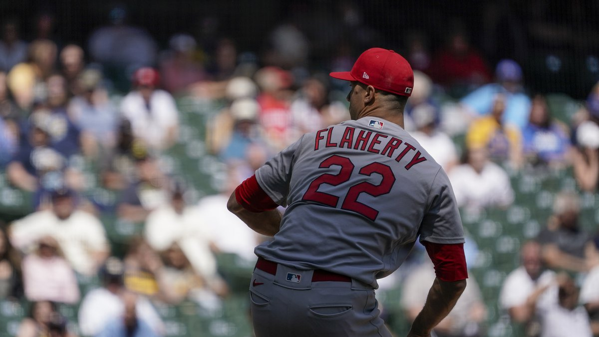 St. Louis Cardinals starting pitcher Jack Flaherty throws during the fifth inning of a baseball...