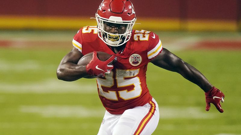 Kansas City Chiefs running back Clyde Edwards-Helaire carries the ball against the Houston...