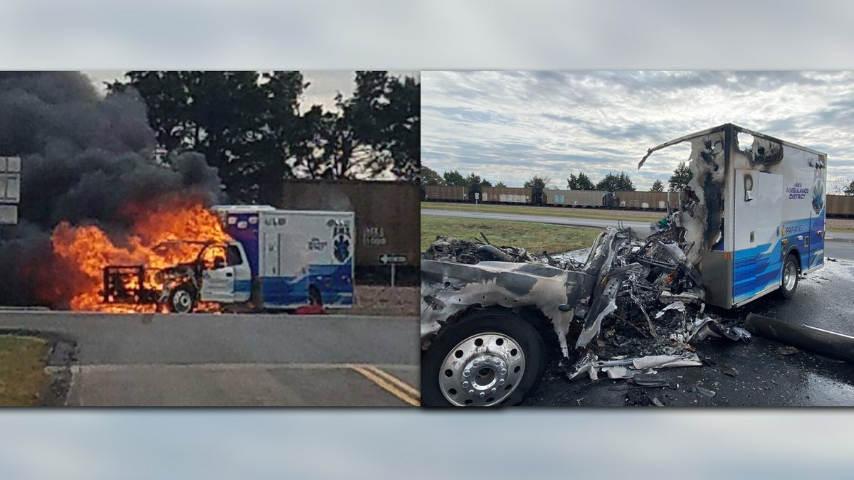 An ambulance from the Ava Ambulance District caught on fire Thursday afternoon due to a...