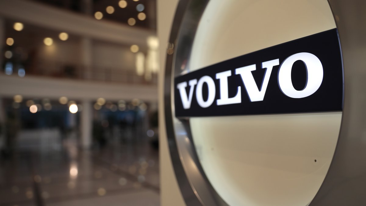FILE - This Feb. 6, 2020, file photo shows the Volvo logo in the lobby of the Volvo corporate...