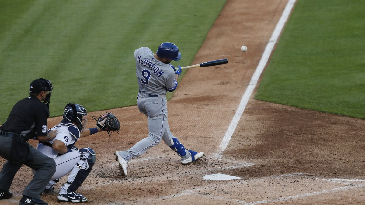 Kansas City Royals' Ryan McBroom connects for a RBI single to left during the third inning of a baseball game against the Detroit Tigers, Wednesday, July 29, 2020, in Detroit. (AP Photo/Carlos Osorio)