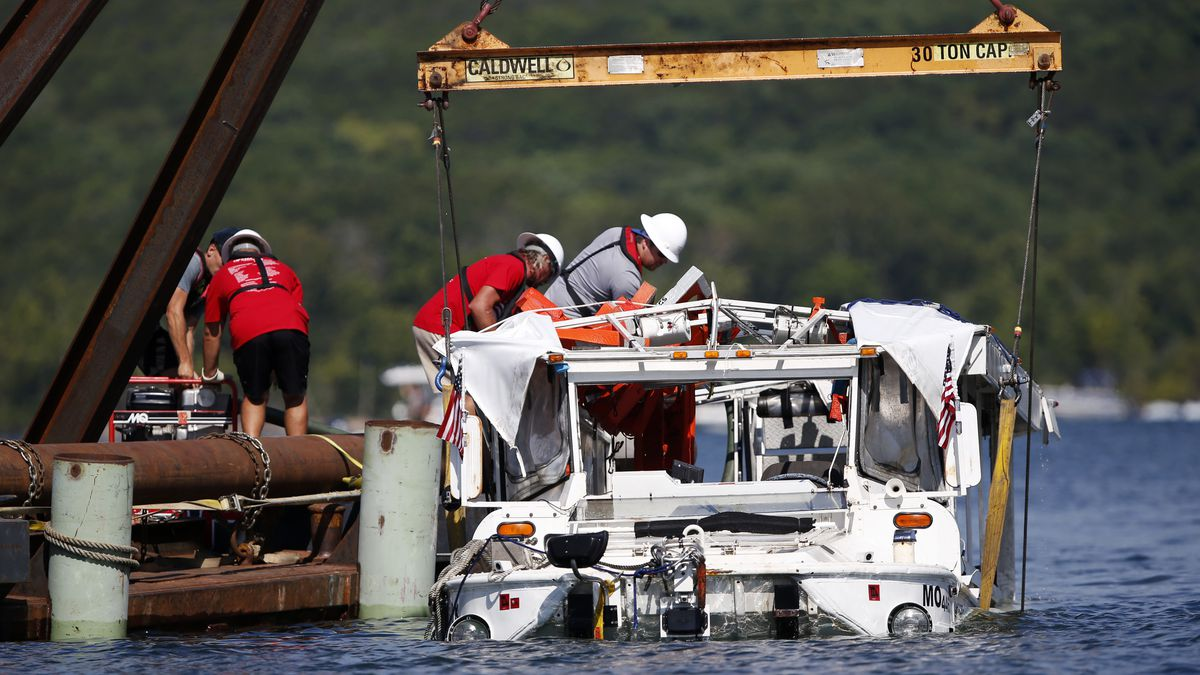 FILE - In this July 23, 2018 file photo, the duck boat that sank in Table Rock Lake in Branson, Mo. Ripley Entertainment, the company that owns the Ride the Ducks operation in Branson asked a judge Monday, Oct. 1, 2018, to dismiss some of the lawsuits filed after one of its boats sank in a Missouri lake in July, killing 17 people. Survivors and relatives of those who died on the boat have filed several lawsuits against Ripley Entertainment and five other businesses. (Nathan Papes/The Springfield News-Leader via AP, File)
